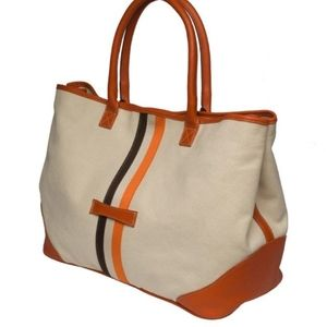 OUGHTON LIMITED Leather and Canvas Tote Bag